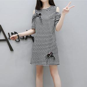 【dress】大人しい可愛いチェック柄リボン飾りチェック柄ワンピース