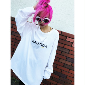 90s NAUTICA ノーティカ ロングスリーブTシャツ sizeL 白/ホワイト