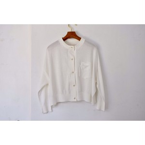 Simva115-0004-White 18G Drop Shoulder Cardigan