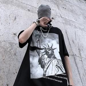 【トップス】自由の女神像韓国系半袖カジュアルTシャツ47795430