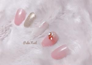 Pukeネイル [No.73] 【オーダーサイズ無料ネイルチップ】天然石♡可愛い♡ Vカットストーン&パールネイルチップ