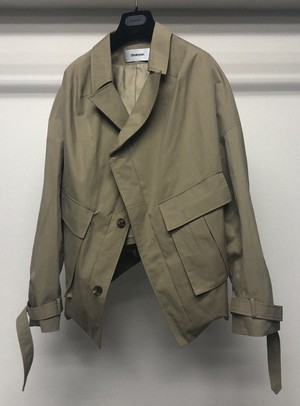 CHALAYAN COLLARLESS PULLED BACK BLOUSON KHAKI