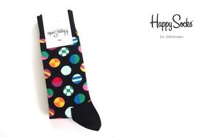 ハッピーソックス|happy socks|クルー丈カジュアルソックス|マルチドット柄ソックス|CLASHING DOT|10117007|ブラック