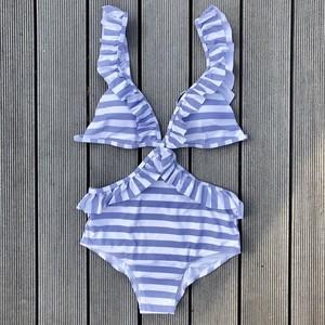 Bikini♡フリルカットアウトモノキニ ストライプ