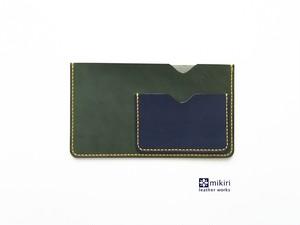 レザーの通帳&キャッシュカードケース グリーン