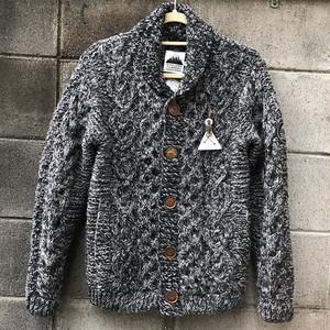 【HCK】 手編みカーディガンM チャコール杢