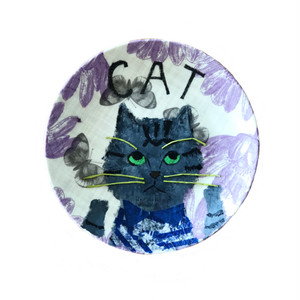 【UPCYCLE】 DECOPAGE PLATE しまねこ