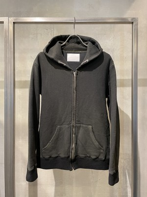 TrAnsference waffle lined zip hoodie - dark forest / imperfection black garment dyed