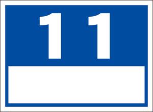 シンプル看板「番号票11(白窓付)」屋外可・送料無料