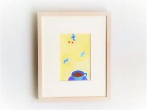 「青いティーカップ」イラスト原画/額縁入り