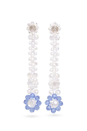 Glass Flower Drop Long Earrings | BLUE