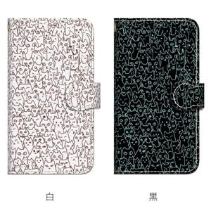Android用 にゃんこ大集合 ブラックorホワイト 手帳型マルチスマホケース