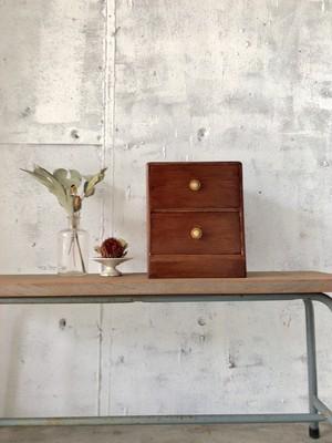 木味の小引き出し2段[古家具]
