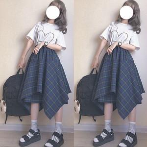 【ボトムス】ins春夏チェック柄文芸スタイル不規則ハイウエストAライン大振裾ロングスカート