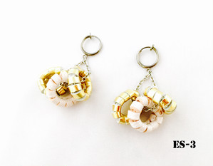 ITALIAN LEATHER DONUTS EARRING -ES-