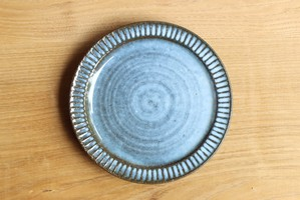 鎬リム皿(藁灰釉)φ17cm 水口耕一