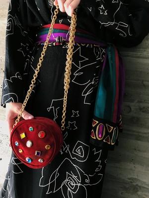 80s red suede  × multi bijou mini bag ( ヴィンテージ レッド スウェード × マルチカラー ビジュー ミニバッグ  ショルダー バッグ