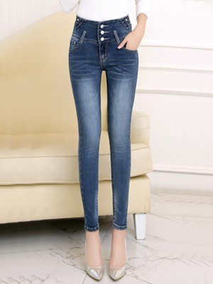 【bottoms】High waist skinny simple jeans