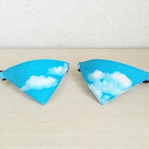 【青空柄】猫用バンダナ風首輪/選べるセーフティバックル 猫首輪