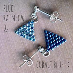 【iro-asobi】blue rainbow & cobalt blue triangle:pierce & earring