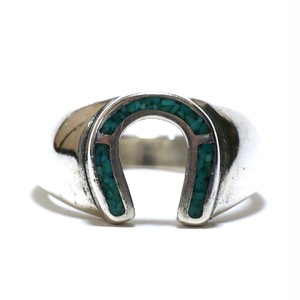 Vintage Sterling Silver Mexican Turquoise Chip Inlay Horse Shoe Ring