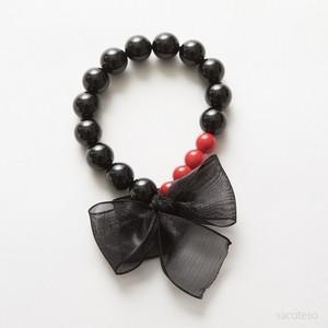 ブラックトルマリン+レッドコーラル×リボン ブレスレット