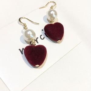 【小物】シンプルハート真珠ファッションイヤリング