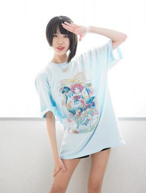 魔法少女あれか★ナニカ  Tシャツ ライトブルー