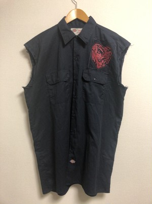 mid〜late2000's Dickies print-patch cut-off work shirt