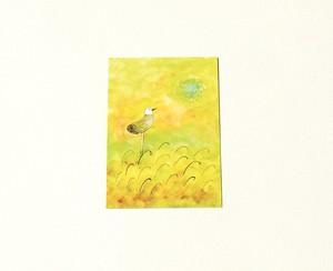 Postcard No.6(とりと緑の太陽)