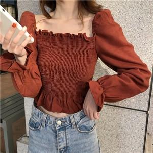 【トップス】フランススタイル気質よいスウィートスクエアネックギャザー飾りシャツ