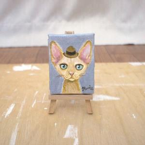 手描きミニキャンバス(イーゼル付き)どろぼうねこシリーズ「茶ハット」 minic-cat 07
