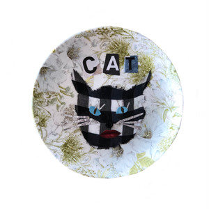 【UPCYCLE】 DECOPAGE PLATE CAT LIP
