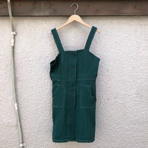 ステッチジャンパースカート カラー: Dark Green