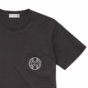 カメラレンズキャップ柄 ポケット付き 半袖Tシャツ VINTAGE BLACK