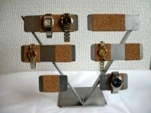 腕時計スタンド 10本掛けV支柱腕時計スタンド 半分コルク仕上げ
