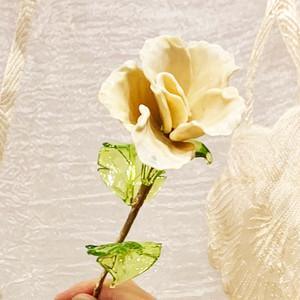 Item762 ヴェネチアンガラス ローズ ガラスの薔薇 クリーム