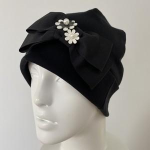 オーガニックコットンおリボンとお花のケア帽子 黒