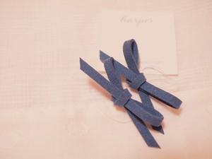 スエードリボンのシリコンゴム ブルー