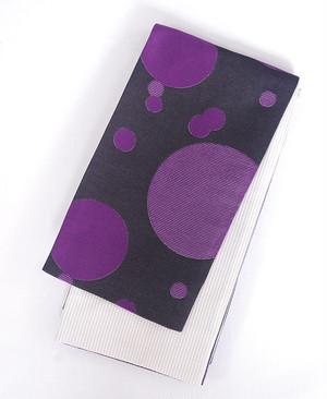 半幅帯【キラキラ縞とキラキラ水玉】紫