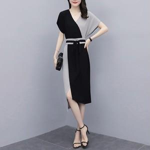 【ワンピース】时尚切り替えVネックスリット受け取って腰绑带OL/フォーマルワンピース28338495