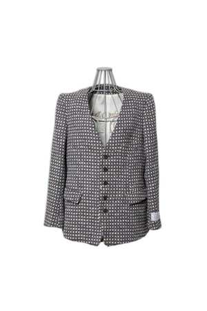 Robes&Confections limited by salon de GAUCHO scenic tweed no-collerr/navy(ladies)626-627