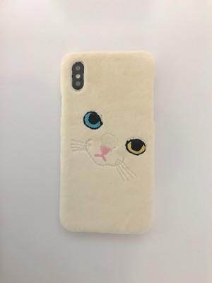 【iPhoneX専用】ビッグフェイスネコケース【オッドアイ】