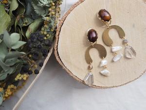 asymmetry natural stone pierce/earring