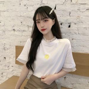 【トップス】新作韓国風人気刺繡切り替え偽2着レースTシャツ