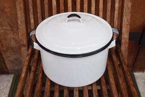 USED 美品 琺瑯鍋 白×黒 ホーロー エナメル ポット