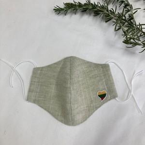 リトアニア産リネン使用 ハンドメイドマスク リトアニア国旗モチーフハートマーク付織柄 ワッフル ライトグリーン