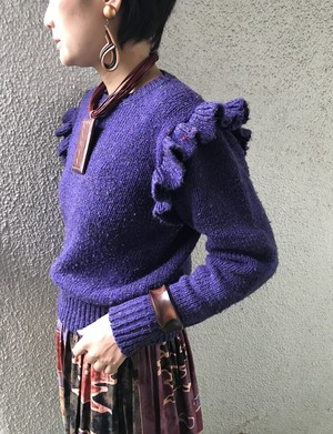 Vintage purple knit tops