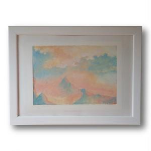 【購入後すぐに飾れる】【送料無料】『Illusion to Europa -autumn-』 A5サイズ額装済み 油彩 ミクストメディア 絵画
