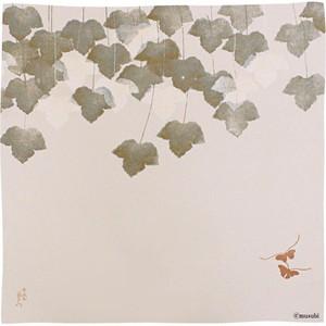 【Furoshiki】68 KARACHO Silk Chirimen Yuzen Dyeing | Butterfly With Ivy In Koetsu Style white【風呂敷】68 唐長 正絹ちりめん友禅 光悦蔦に蝶